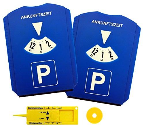 Parkscheibe Parkuhr für Auto mit Eiskratzer und Einkaufswagen-Chips Reifen-Profiltiefenmesser Blau (2 Stück)
