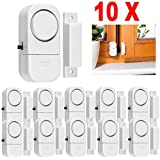 Drillpro Wireless Home Doors Windows Mini Entry Alarm System Burglar Alarm Door Alarm System and Window Alarm Kit-Set of 10 White