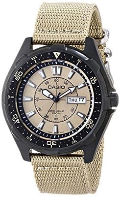 Casio Reloj de pulsera para hombres, acero inoxidable, correa de nailon beige de Casio
