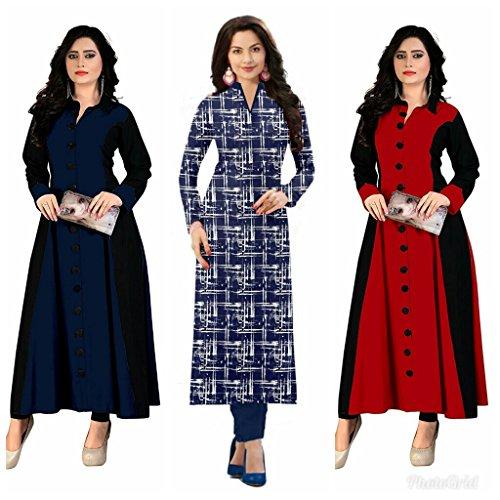 Kesari King Women\'s A-Line Cotton Printed Semi Stiched Kurti Materials (BABYREDBLUE1023 Multicolor_Free Size)