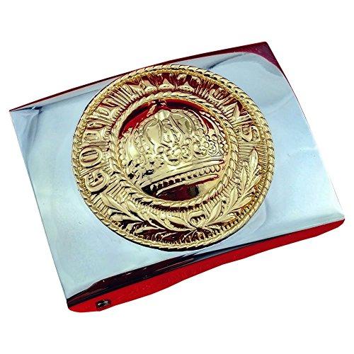 Koppelschloss Gott mit Uns Preussen - verschiedene Farben/Embleme, Schloss silbern / Emblem golden, Fuer-45mm-breite-Koppelguertel