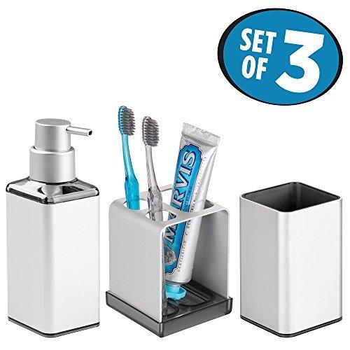 mDesign accessoires de salle de bain (lot de 3) – porte brosse a dent, distributeur de savon et verre – en aluminium inoxydable – argenté/fumé