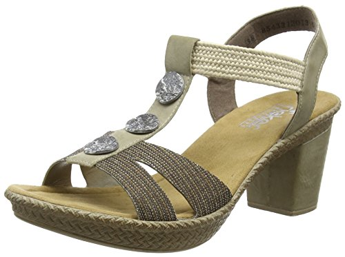 Rieker 66573 Women Open Toe, Sandales femme Or (gold/marble/offwhite / 90)