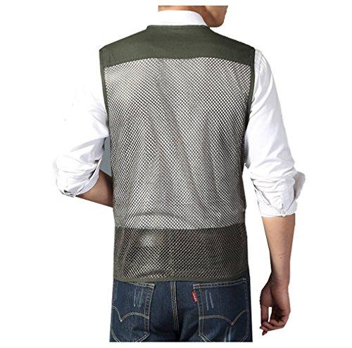 Herren Weste Ärmellos Westen Zip Up Sport Outwear mit Reißverschluss Outdoor-Weste Baumwolle Jacke mit Vielen Praktischen Taschen Blau