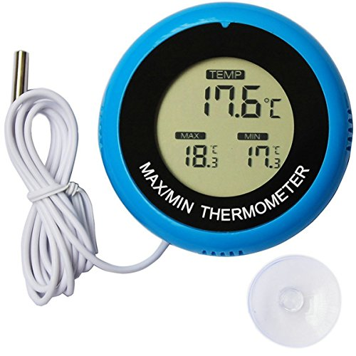 GuDoQi Digitales Aquarienthermometer 2 In 1 Fischerthermometer Und Innenthermometer Mit Fahrenheit Und Celsius Freischalter Großer Messbereich Großes LCD Display