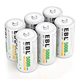 EBL 6 Pack Industrial Battery Rechargeable C Size Batteries 5000mAh, Ni-MH C Cells