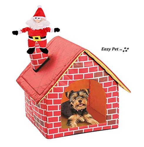 Santa Dog Hundebett mit Weihnachtsmann-Motiv und abnehmbarem Plüschbett, faltbar, echtes Aussehen, freistehendes Haus und Kamin, Reisehütte, bequem, kompakt, zusammenklappbar, weiches Bett -