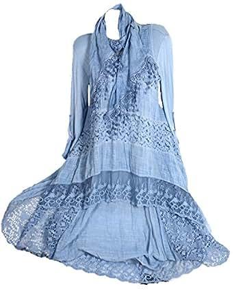 3Tlg Spitze Lagenlook Tunika Sommer Kleid Netz Schal Twinset Shirt L 42 Blau