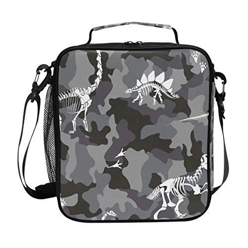 Lunchtasche mit Dinosaurier-Skelett-Motiv, für Mahlzeiten, Vorbereitung, Lunchbox, Kühler, Schultergurt, für Herren, Damen, Kinder, Jungen, Mädchen, groß, isoliert, Picknick, Schule, Büro -