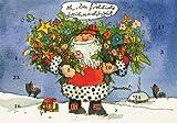 Janosch Adventskalenderkarte Weihnachtsmann bringt Blumen