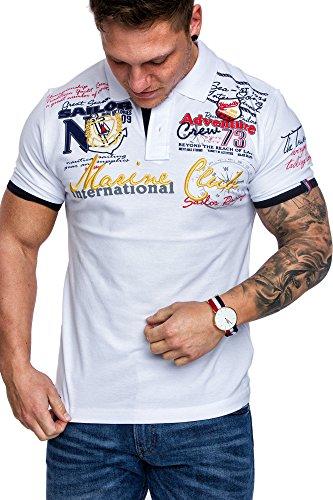 Amaci&Sons Herren Marine Club Stickerei Poloshirt Slim Fit Hemd Kurzarm Shirt 5001 Weiß