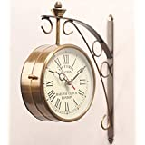 Accents & Decor Golden Brass Victoria Station Clock/Double Side Clock/360 Degree Rotatable/Wall Clock For Home (6 Inch, 4)