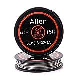 MKWS Fil Resistif Alien Vape Coil Wire Préfabriqué,15 Pieds 0.3*0.8+32GA pour Cigarette Electronique RBA, RTA, RDA, RDTA, Atomiseur Reconstructible (SS316L)