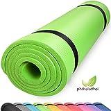 diMio Yogamatte Gymnastikmatte rutschfest mit Tragegurt, phlatatfrei + SGS-geprüft, 185x60x1.0cm Lime