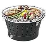 Fun BBQ rauchfreier Holzkohlegrill Tischgrill ca.35cm Farbe anthrazit inklusive Tasche Trendyshop365