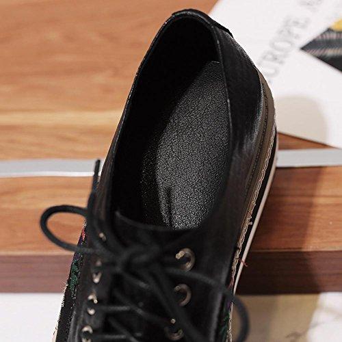 Chaussures A0602 Brodées Semelles Double en Cuir Gaufré Femme Fleurs Plateformes à black WSXY KJJDE TwWyIqHTr