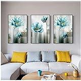 Abstrakte Blaue Blume Leinwand Malerei Moderne Babyblau Wandkunst Bild für Wohnzimmer Gold Poster Drucken 50x75 cm kein Rahmen