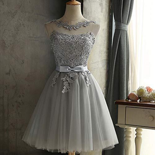 JJHR Kleider Kurze Spitze Partykleid Plus Size White Sleeveless Backless Prom Elegante Abend Sommerkleid Frauen Weihnachten Kleid (Kurzes Kleid Plus Size Frauen)