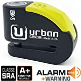 Urban Security UR10 Antivol Moto Homologué SRA Bloque Disque Alarme 120 DB Warning Double Verrouillage ø10 mm