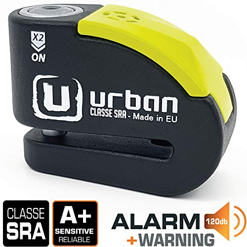 Urban Security UR10 Candado Antirrobo Moto Disco Alarma 120db, Avisador, A+, Doble...
