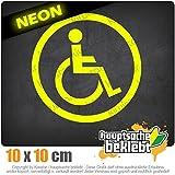 Pegatina de silla de ruedas, 10 x 10 cm, disponible en 15 colores (también neón y cromado), autoadhesiva