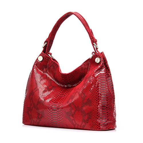 Realer Genuine Leather Formal Hobo Purses and Handbag for Women Office Shoulder Bag Rosso