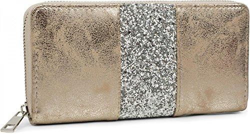 styleBREAKER Geldbörse mit umlaufendem Pailletten Streifen, Reißverschluss, Portemonnaie, Damen 02040056, Farbe:Antik-Gold / Silber