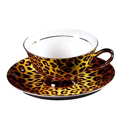 Porzellan Keramik Tee-Tasse Kaffeetasse, Leoparden-Print, Gelb Und Schwarz