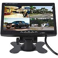 Camecho 7 Zoll 4-Splitscreen Monitor Quad Multiplexer Bildschirm TFT LCD 800x480 HD Screen für Auto LKW PKW Rückfahrsystem Rückfahrkamera 4-Kanal RCA input On-Dash Ständer