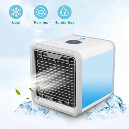 GHONLZIN Aire Acondicionado, Mini 3 en 1 Personal Enfriador de Aire Purificador de Aire Humidificador y Purificador, USB Ventilador Escritorio con 3 Velocidades y 7 Colores LED Luz de la Noche