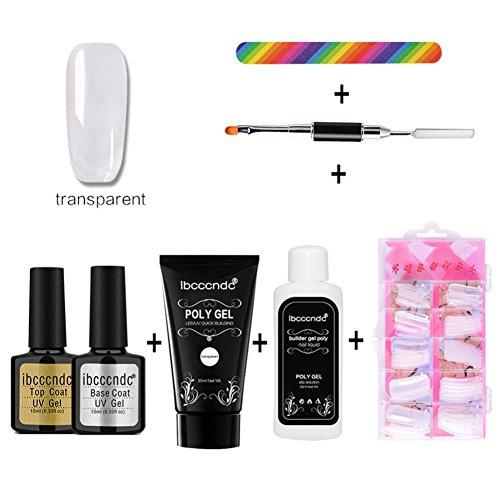 Amlaiworld poly gel false unghie liquido double-end chiodo pennello pusher dead pelle set nail art kit chiodo olio chiodo colla (a)