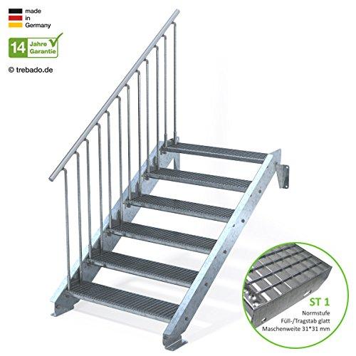 Außentreppe 6 Stufen 100 cm Laufbreite - einseitiges Geländer links - Anstellhöhe variabel von 100 cm bis 120 cm - Gitterroststufe ST1 - feuerverzinkte Stahltreppe mit 1000 mm Stufenlänge als montagefertiger Bausatz