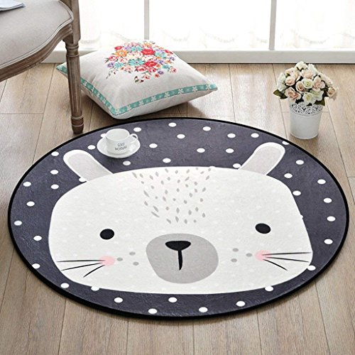 JU Teppich runden Teppich Cartoon Tier Teppich, Schlafzimmer Wohnzimmer Couchtisch Korb Korbdecke Zimmer Computer Stuhl Mat,Durchmesser 150cm -