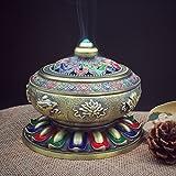 Bxt vintage in lega di bronzo bruciatore di incenso arredamento di buon auspicio Lotus Tibet bastone di incenso bruciatore Holder Fit per cono spirale di incenso