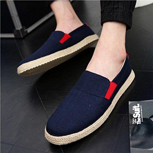 Scarpe da uomo scarpe varie in paglia scarpe traspiranti scarpe di tela scarpe di canapa Blue