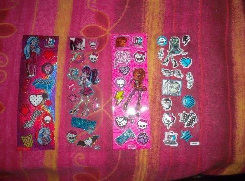 4Stück planches de verschiedenen Models D Aufkleber Sticker NEU sind der Charaktere und anderen Logos Monster High (Aufkleber Monster High)