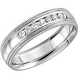 JewelryWeb Anillo de Oro Blanco de 14 Quilates, tamaño V, 1/2 6 mm, 0,25 DWT, Diamante, Medio Redondo, Ajuste cómodo, Doble Banda Milgrain