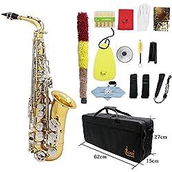 ammoon LADE Alto Saxophone Sax Laiton Brillant Gravé Eb E-Flat Blanc Naturel Shell Bouton Instrument à Vent avec des Gants Case Mute Chiffon de Nettoyage Graisse Belt Brush