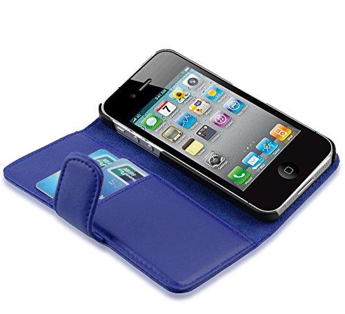 Apple iPhone 4 / 4S / 4G Hülle in BRAUN von Cadorabo - Handy-Hülle mit Karten-Fach und Standfunktion für iPhone 4 / 4S / 4G Case Cover Schutz-hülle Etui Tasche Book Klapp Style in KAKAO-BRAUN BRILLANT-BLAU