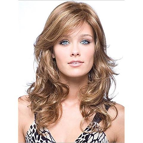 Meydlee Parrucche Parrucca di capelli ricci lunghezza sintetico Midi con lato frangetta bionda Hignlight + un cappello parrucca gratis