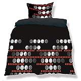 CelinaTex aqua-textil 0500056 Living 3-tlg. Bettwäsche 4-Jahreszeiten 200 x 200 cm Mikrofaser Bettbezug OEKO-TEX 3 teilig Nevada schwarz grau rot Punkte