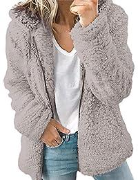 Abrigos Mujer Invierno Talla Grande POLP Abrigo con Capucha para Mujer Chaqueta Ultra-Caliente Felpa Suelto Sudadera con Capucha Cremallera Tops con Bolsillo S-XXXXXL