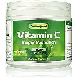 Greenfood Vitamin C magenfreundlich, 450 g Pulver, gepuffert mit Calcium, vegan – für Immunsystem, schöne Haut, gesunde Gelenke und stabile Knochen. OHNE GENTECHNIK. Ohne künstliche Zusätze. Ohne Säur