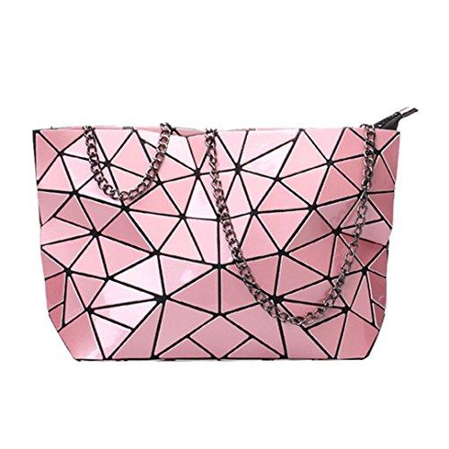 Milya Kette Umhängetasche PU-Leder Schultertasche Damen Umhängetaschen Clutch Leder Clutch Umhängetasche mit Kette Kleine quadratische Paket Geometrische -Muster Silber Pink