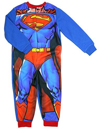 Superman Jungen Fleece Onesie - Alter 3 bis 8 Jahren - 7-8 Years / 128 cm (Superman Fleece)