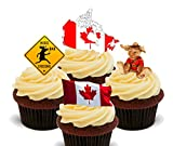 Kanada Fun Pack, essbare Cupcake Topper–Stand-Up Wafer Kuchen Dekorationen, 24er-Pack