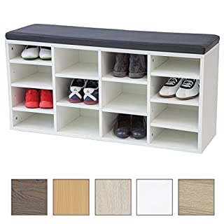 Albatros shoe cabinet with seat cushion VINCENT - White - New model with 14 compartments and click system!