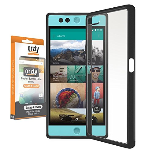 Orzly® FUSION Bumper Case für NEXTBIT ROBIN SmartPhone / Handy (2016 Modell) - Schutz Hard Cover mit stoßabsorbierenden Gummi SCHWARZ Rim und Voll Transparente Rückseite