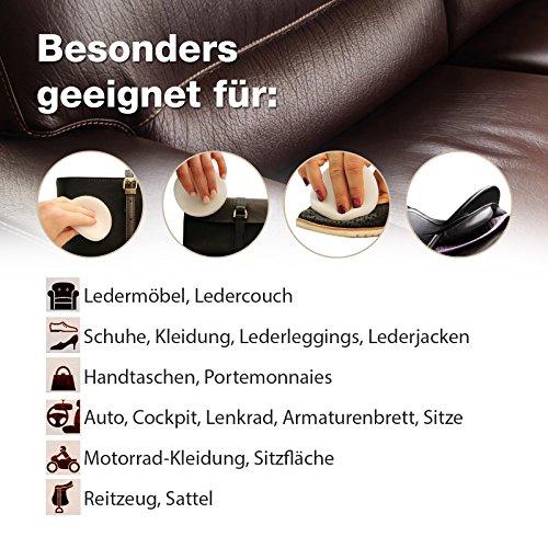 Lederpflege-Balsam mit Jojobaöl, natürliche Leder-Reinigung, -Pflege und Imprägnierung für alle Glattleder-Arten, tierversuchsfreies Produkt - 4