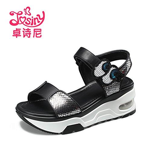 Xing Lin Sandales Pour Dames Nouvelles Chaussures DÉté Avec Les Sandales Style College Silver gray